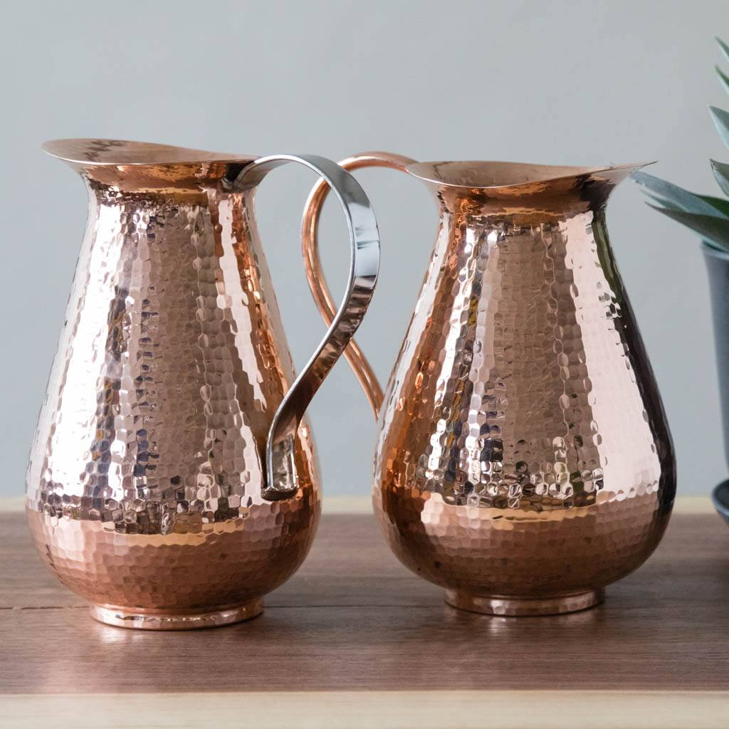 Pair of Pure Copper Water Pitchers (Copper and Stainless Steel Handle)