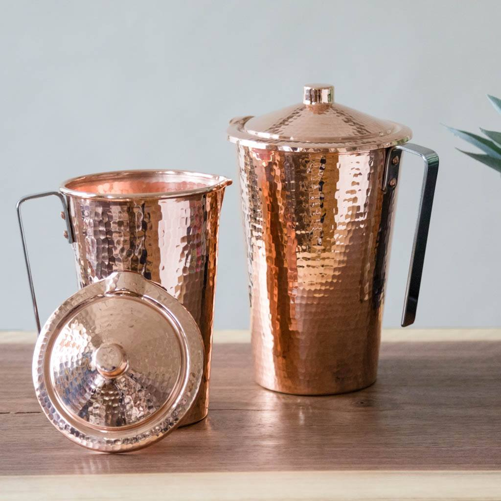 Pair of Copper Water Pitchers with lids