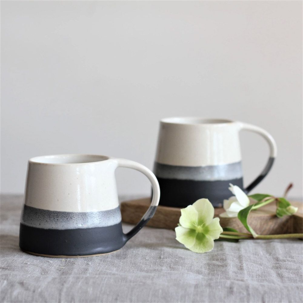 Handmade Charcoal Mugs by Hilda Carr Pottery