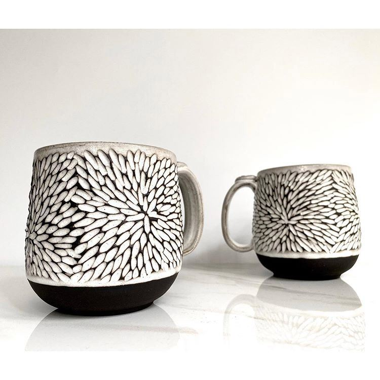 Black Clay Starburst Handmade Stoneware Mugs by Jennifer Spring Ceramics