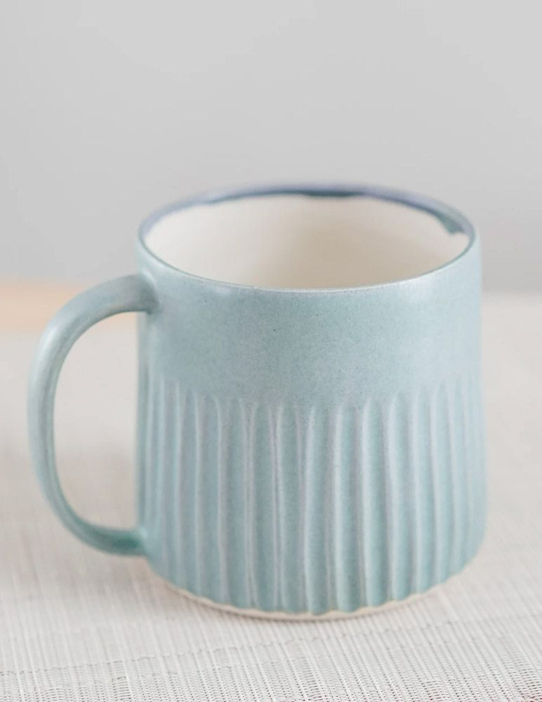 Soft Satin Blue Hand Carved Mug by Kate Mac Ceramics