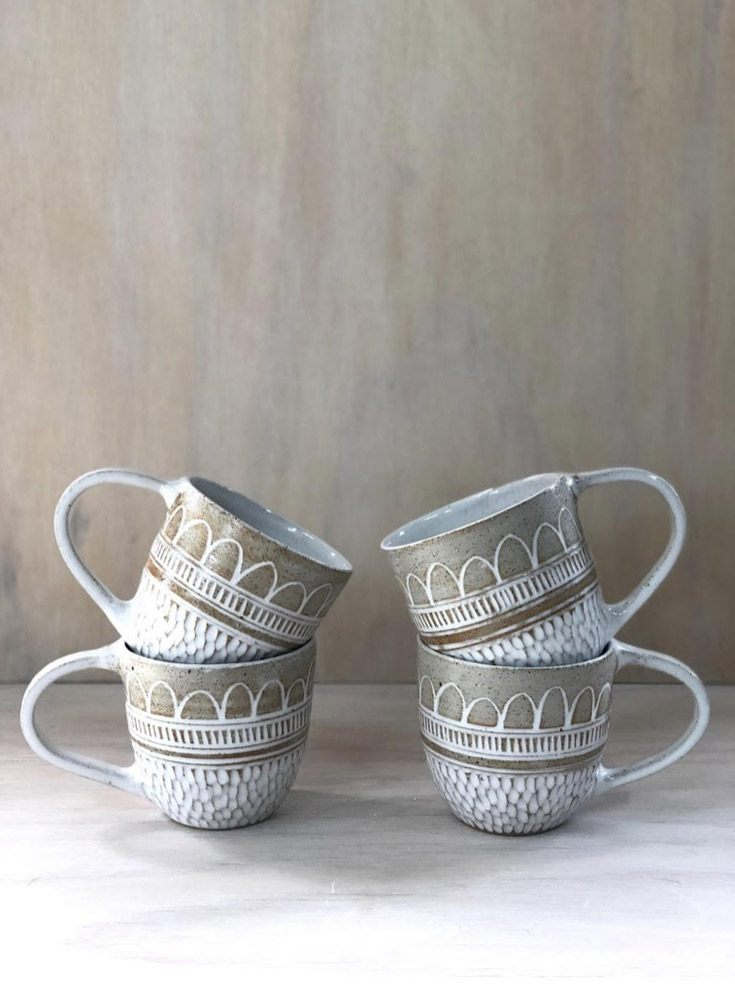 Boho Rain Raw Handmade Ceramic Mugs by Leiluca