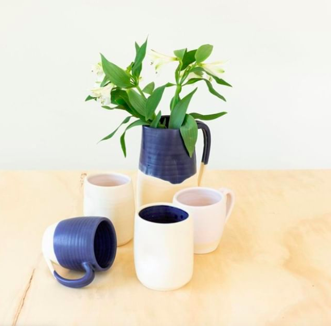 Two-Tone Dipped Ceramic Pitcher in Matte Midnight