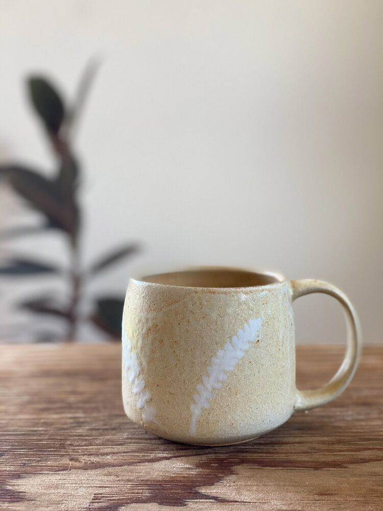 Handmade Fern Mug in Gold Sands by Tamara Bryan Pottery