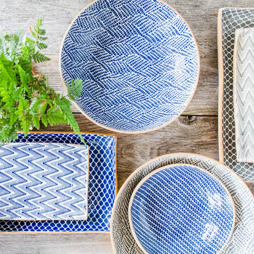 Terrafirma Ceramics Collection- Handmade Ceramic Serving Bowls and Platters - Color: Cobalt, Charcoal by Ellen Evans